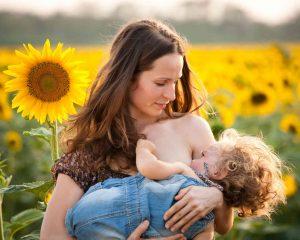 Äiti imettää taaperoa auringonkukkapellolla.
